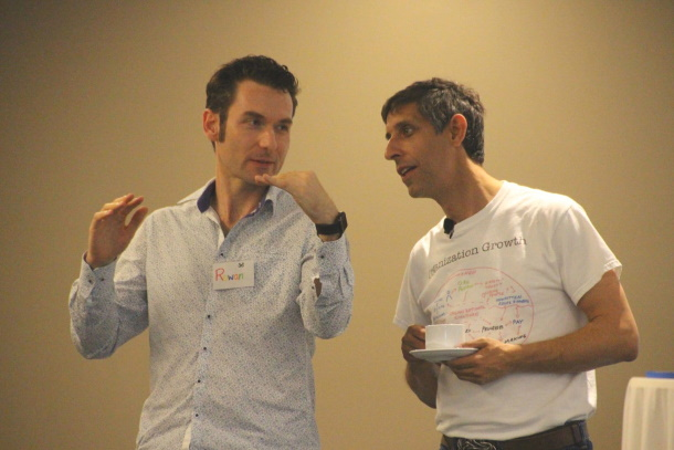 Michael Sahota talking with Certified Scrum Trainer Rowan Bunning at a CAL1 course